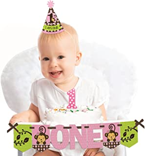 Big Dot of Happiness Pink Monkey Girl 1st Birthday - First Birthday Girl Smash Cake Decorating Kit - High Chair Decorations