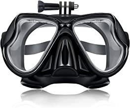 ParaPace Diving Mask with Detachable Screw Mount for GoPro Hero 7/6/5/4/3+/3, Tempered Glass Swimming Goggles Anti-Fog Lens for Freediving Spearfishing Snorkeling, Black