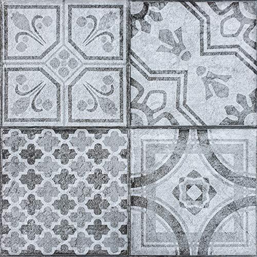 Decomeister Selbstklebende Bodenfliesen Kunststoff Fliesen Vinyl-Fliesen Bodenbelag 2m² – 22 Stück á 30,5 x 30,5 cm Marokkanisches Muster Moroccan Style
