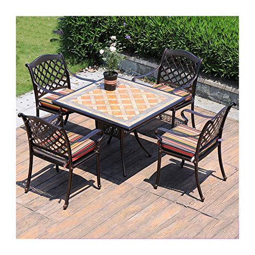 DYYD 5 Piece Iron Tables and chairs,Patio Furniture Garden Table and Chairs Set Glass Coffee Table Conversation for Outdoor Garden Poolside Garden Furniture Sets