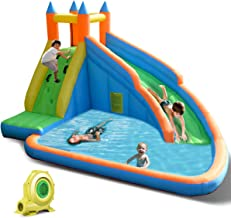 Costzon Inflatable Slide Bouncer, Water Pool with Long Slide, Climbing Wall, Including..