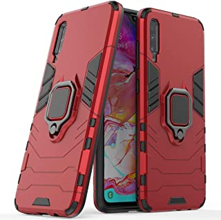 Compatible with Galaxy A70 Case, Metal Ring Grip Kickstand Shockproof Hard Bumper Shell (Works with Magnetic Car Mount) Dual Layer Rugged Cover for Samsung Galaxy A70 (Red)