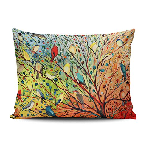 KEIBIKE Personalized Abstract Trees and Birds Boudoir Rectangle Decorative Pillowcases Print Zippered Throw Pillow Covers Cases 12x16 Inches One Sided