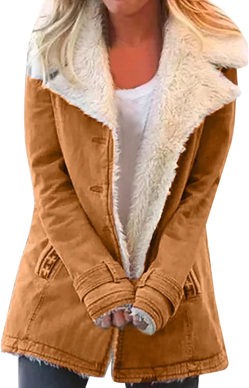 Women's Plus Size Winter Warm Composite Plush Button Lapels Jacket Outwear Coat
