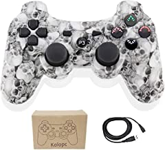 Kolopc Wireless Bluetooth Controller for PS3 Double Shock - Bundled with USB Charge Cord (WhiteSkull)