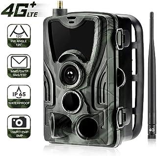 YKJL Trampa fotográfica de cámara de Vida Silvestre 4G 16MP 1080P con transmisión teléfono Celular Cámara Caza a Prueba Agua IP65 Detector Movimiento LED Infrarrojos- A