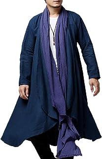 XINHEO Men Raglan Martial Arts Cotton Linen Open Front Coat Jacket