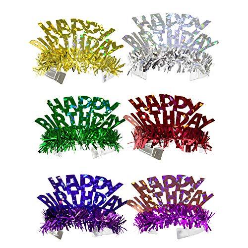 WOOOOZY Haarreif Happy Birthday Hologr. bunt, 6 Stück