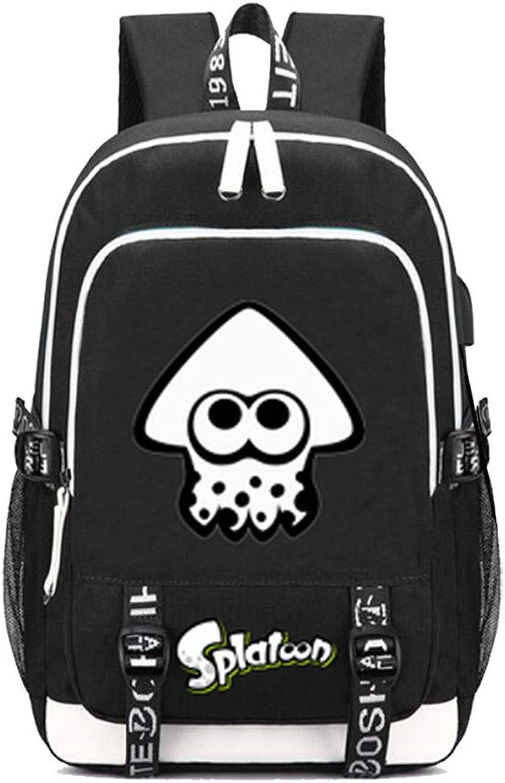 Splatoon Spiel Backpack Schultasche Laptop-Rucksack mit USB-Ladeanschluss und Kopfhreranschluss  4