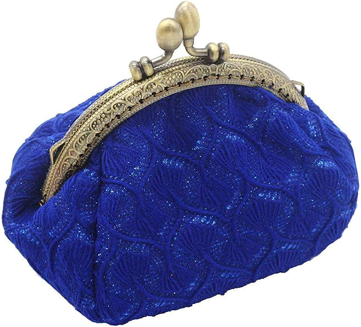 New fashion ladies wallet Retro Women's Cute Classic Exquisite Buckle Coin Purse (color   bluee, Size   M)