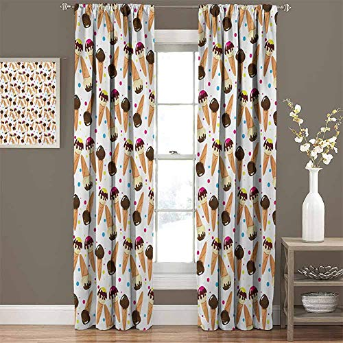 Purchase Ice Cream Ultra Soft and Smooth Grommets Drapes Chocolate Covered Ice Cream with Colorful L...