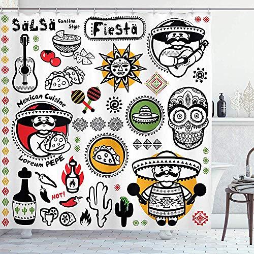 wobuzhidaoshamingzi Mexicaanse douchegordijn Latino cultuur Zucchero Morto doodskop Poncho Salsa Fiesta Opera d'Arte