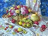 Rompecabezas - Mesa Fruta Flor Cesta café(300 Piezas 52,5 x 38,5cm) Juego de Rompecabezas de Madera para niños Adultos, Regalo de Juguete para niños pequeños