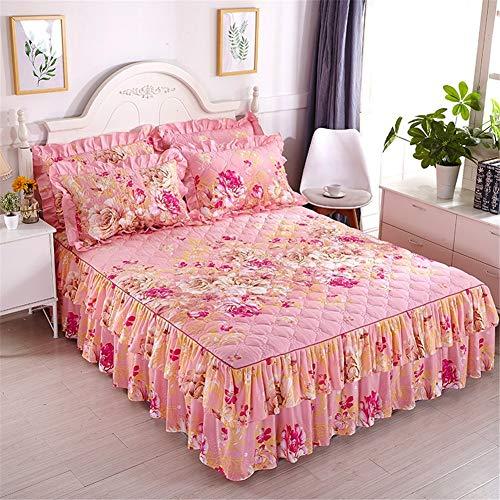 CQZM Verdicken Mit Rüschen Bettvolant Babybett rutschfest Gesteppter Bettrock Tagesdecke Single Double Bed Skirt Queen Schlafzimmer Wrap Around Style Bett RöckeE-180x200cm(71x79inch)