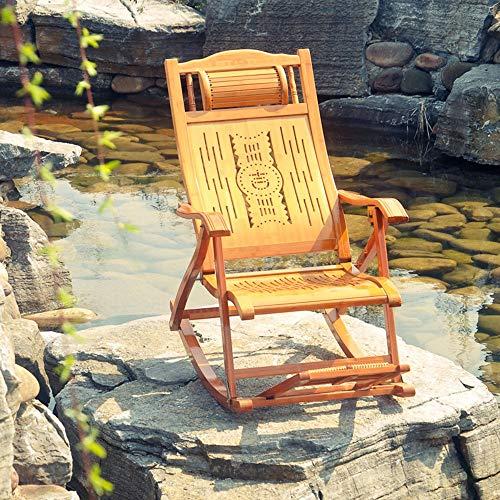 Silla Mecedora Plegable con Almohadas Y Masaje De Pies Silla De Relax Ajustable Ideal For Salón, Oficina, Terraza, Antideslizante, Fácil Montaje Sillas De Playa (Color : Wood-B)