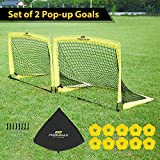 PodiuMax Lot DE 2 PCS Pop Up Football Goals | But de Football Pliable, But d'Entrainement pour l'enfant/Jardin/extérieur ou en équipe (Moyen | Grand