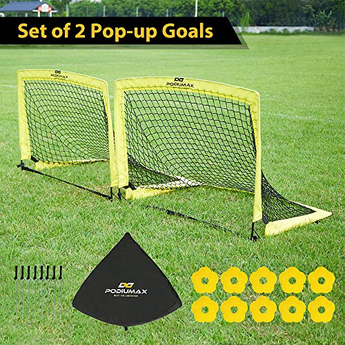 PodiuMax Pop up 2er Football Goals | with 10 Disc Cones & Carry Bag | Protable for Garden, Indoor, Outdoor | Training, Practice Goals