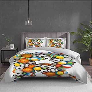 Dolores Edmund Letter R Pure Bedding Hotel Luxury Bed Linen Realistic Looking Volleyball Basketball Soccer Balls Language of The Game Theme Polyester - Soft and Breathable (Queen) Multicolor