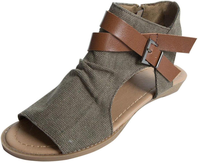 JOYBI Women Roma Wedge Sandals Buckle Strap Linen Breathable Slip On Summer Low Heel Slingback Sandal