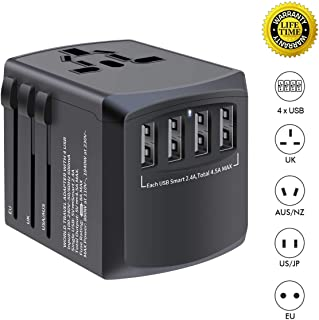 International travel adapter, MINGTONG 4 USB worldwide universal travel power plug adapter, All in One European Power Adapter Electrical Adapter for Travel - Type C Type A Type G for UK Japan China EU