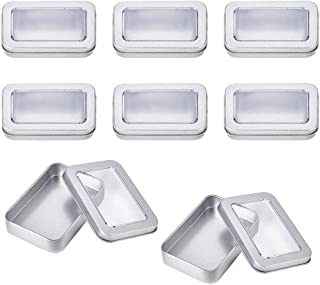 8個セット ブリキ缶 長方形鉄ボックス 大きなクリア窓蓋 シルバー 長方形コンテナ 錆止め お菓子保存 クリーム小分け 小物収納 雑貨入れ