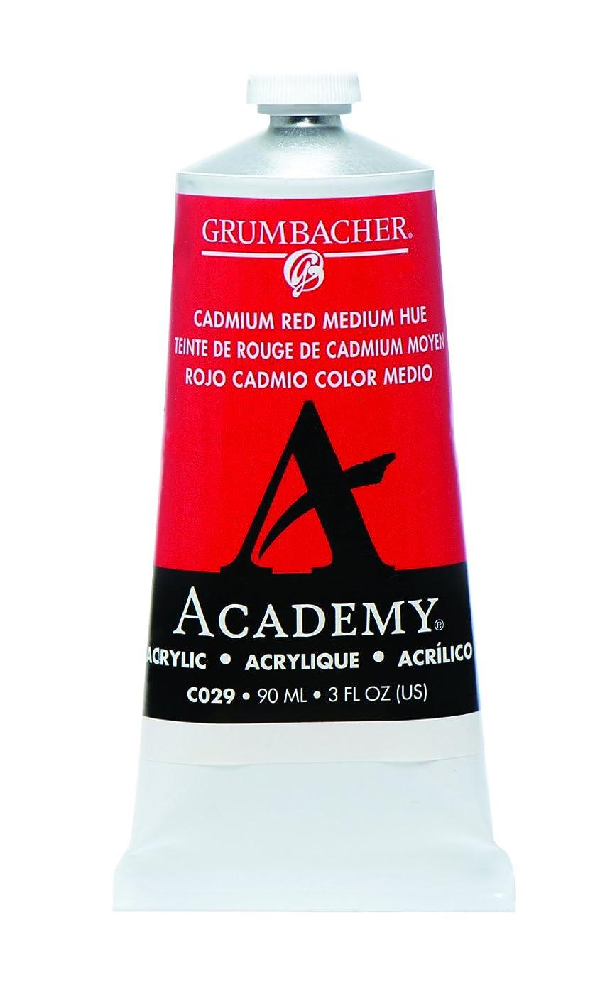 Grumbacher Academy Acrylic Paint, 90ml/3 oz Metal Tube, Cadmium Red Medium Hue