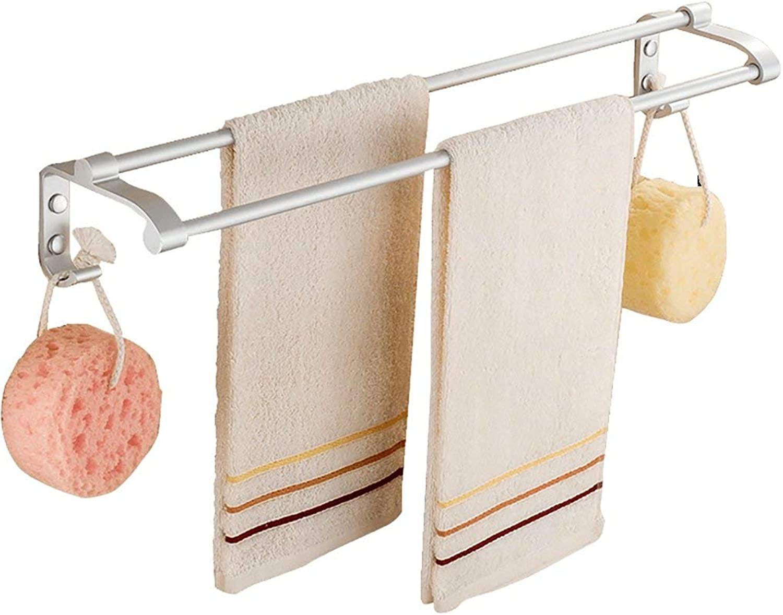 Towel Rack Towel Rack Wall Mounted Drilling Double Bar Rail Space Aluminum Bathroom Minimalist Towel Shelf (Size   50CM) Bathroom Towel Shelf (Size   40CM)