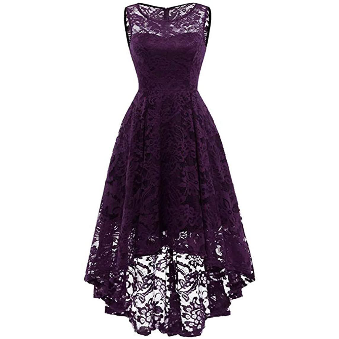 ??ONLY TOP?? Women's Vintage Floral Lace Sleeveless Hi-Lo Cocktail Formal Swing Dress