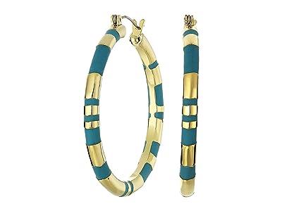 Vince Camuto Large Hoop Earrings (Gold/Blue) Earring