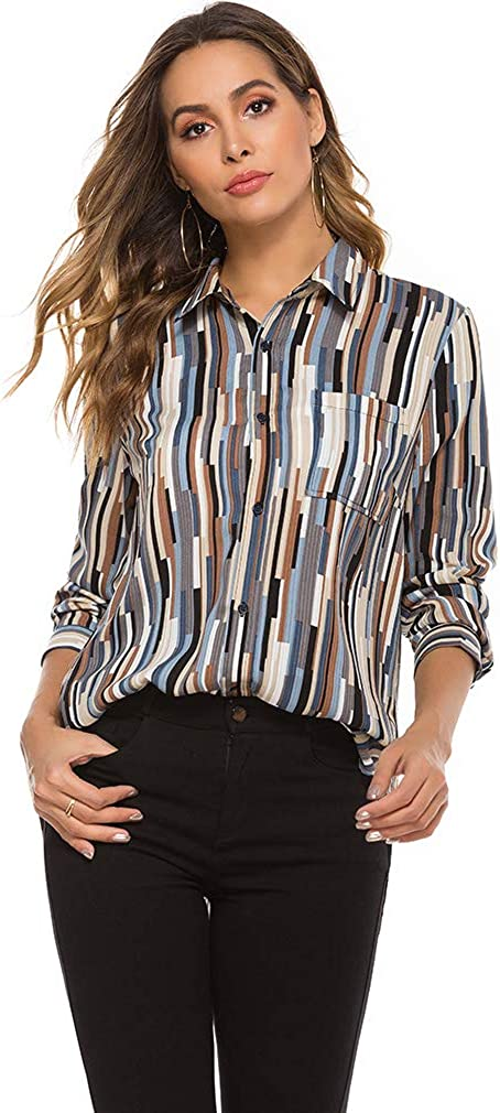 LQWY Women's V Neck Roll up Long Sleeve Button Down Lightweight Casual Striped Print Bow Tie Neck Cuffed Blouses Shirts Tops