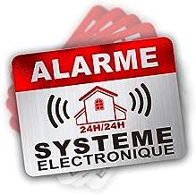 Autocollant Alarme dissuasifs Stickers Alarme sécurité Haute qualité Apparence en Inoxydable 8x6cm Lot DE 12