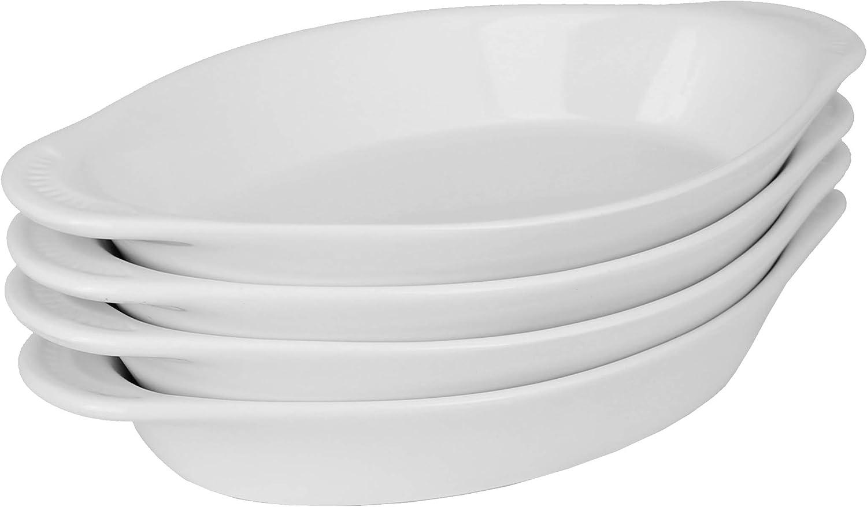 MinWill Brands Ceramic Oval Rarebit Au Gratin Baking Dish with Pan Scraper (4-Pack, 15 Ounce, Pure White)