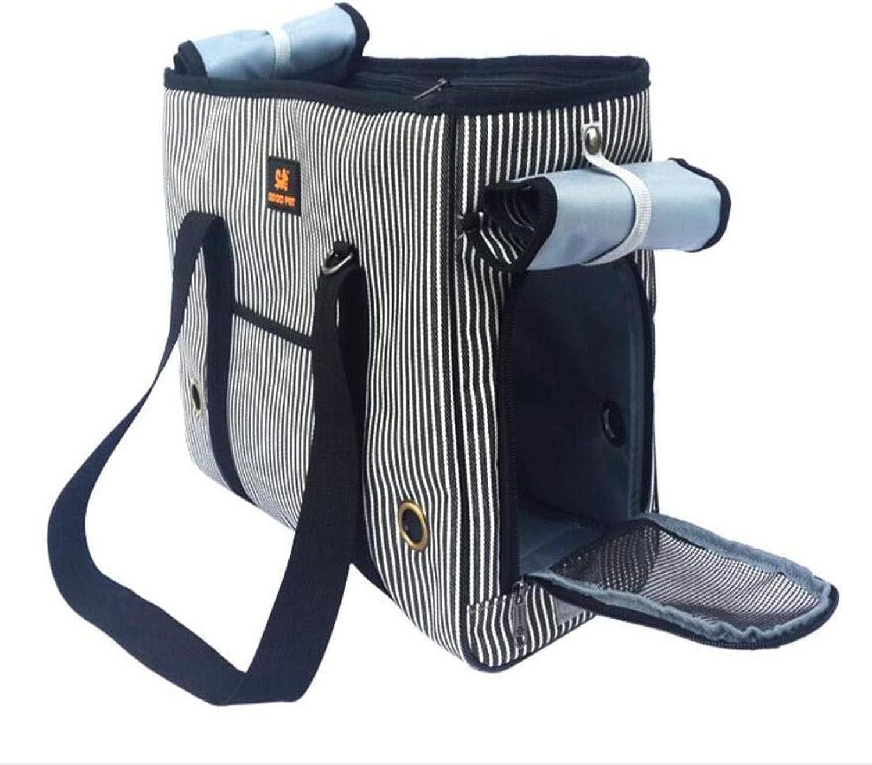 Pet Carrier Seat Oxford Pet Box Striped Diagonal Cross Backpack Small Dog Universal Shoulder Bag, m Pet Carrier Crate