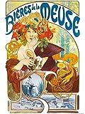1art1 Alphonse Mucha - Cervezas De Mosa, 1897 Póster Impresión Artística (80 x 60cm)