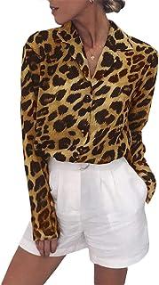 Women's Long Sleeve Cheetah Graphic Blouse Tops Animal Printed Leopard Button Up Dress Shirt