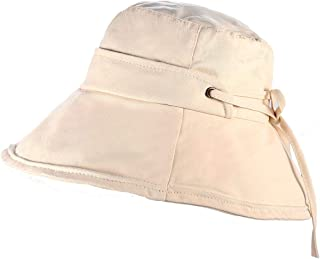 PHALIN Packable Bucket Hats for Women Summer Wide Brim Sun Hats Bow-Knot Cotton Beach Fisherman Cap for Vacation Traveling