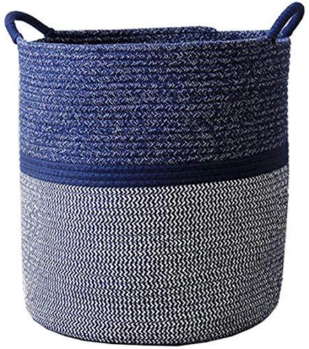 Cestas de almacenamiento - Cesta de cuerda de algodón Cesta de lavandería tejida para bebé con asa para pañal de juguete Bonita decoración neutra para el hogar