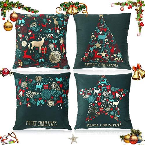 HommyFine Funda de cojín de Navidad, Verde Elegante Cojines Almohadas Fundas de Feliz Navidad Año Nuevo Decorativo con Cremallera Invisible para Sofás Sillon Silla o Coche 45 x 45 cm
