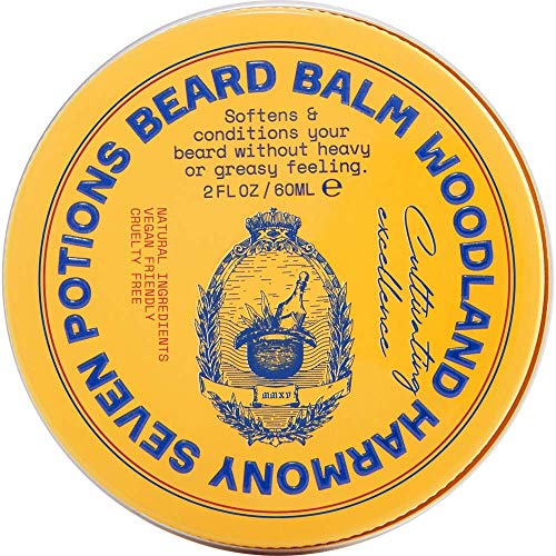 Seven Potions Beard Balm for Men — Conditioning Beard Softener to Nourish Skin, Facial Hair, and Stop Beard Itch — All-Natural, Vegan, Cruelty Free — Woodland Harmony (60ml)