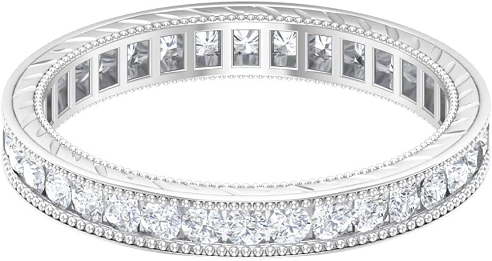 Many popular brands Unique Full Eternity OFFer Ring 0.87 CT Diamond Milgrain Round