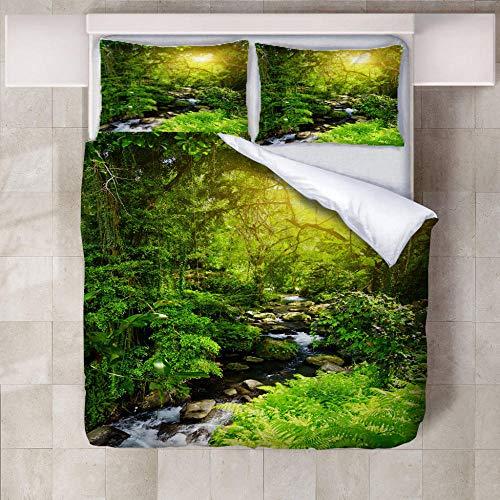 FFBYQ Bettwäsche Set 3D Grüner Wald,Bettwäsche Set Mikrofaser 3D Digital Print Dreiteilige Set Zwei Kissenbezug(1 Bettbezug 2 Kopfkissenbezug) 220X240Cm