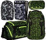 satch match Green Bermuda 5er Set Schulrucksack, Sporttasche, Schlamperbox, Heftebox & Regencape Schwarz