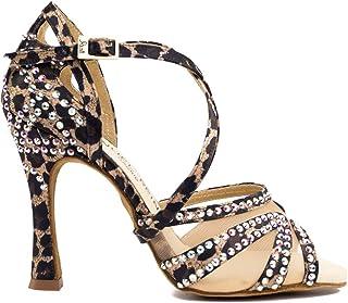 venta con alto descuento Manuel Reina - Zapatos de Baile Latino Mujer Salsa Salsa Salsa Flex 10 Leopard - Bailar Bachata, Salsa, Kizomba  directo de fábrica