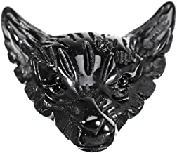 Generic Natural Black Obsidian Wolf Head Pendant Necklace Jewelry Quartz Crystal Gift