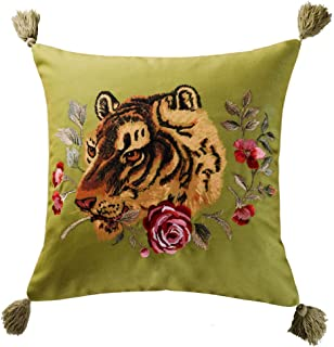 JWH Tassel Accent Pillow Case Tiger Flower Print Cushion Cover Decorative Pillowcase Home Bed Living Room Shell Gift 18 x 18 Inch Green
