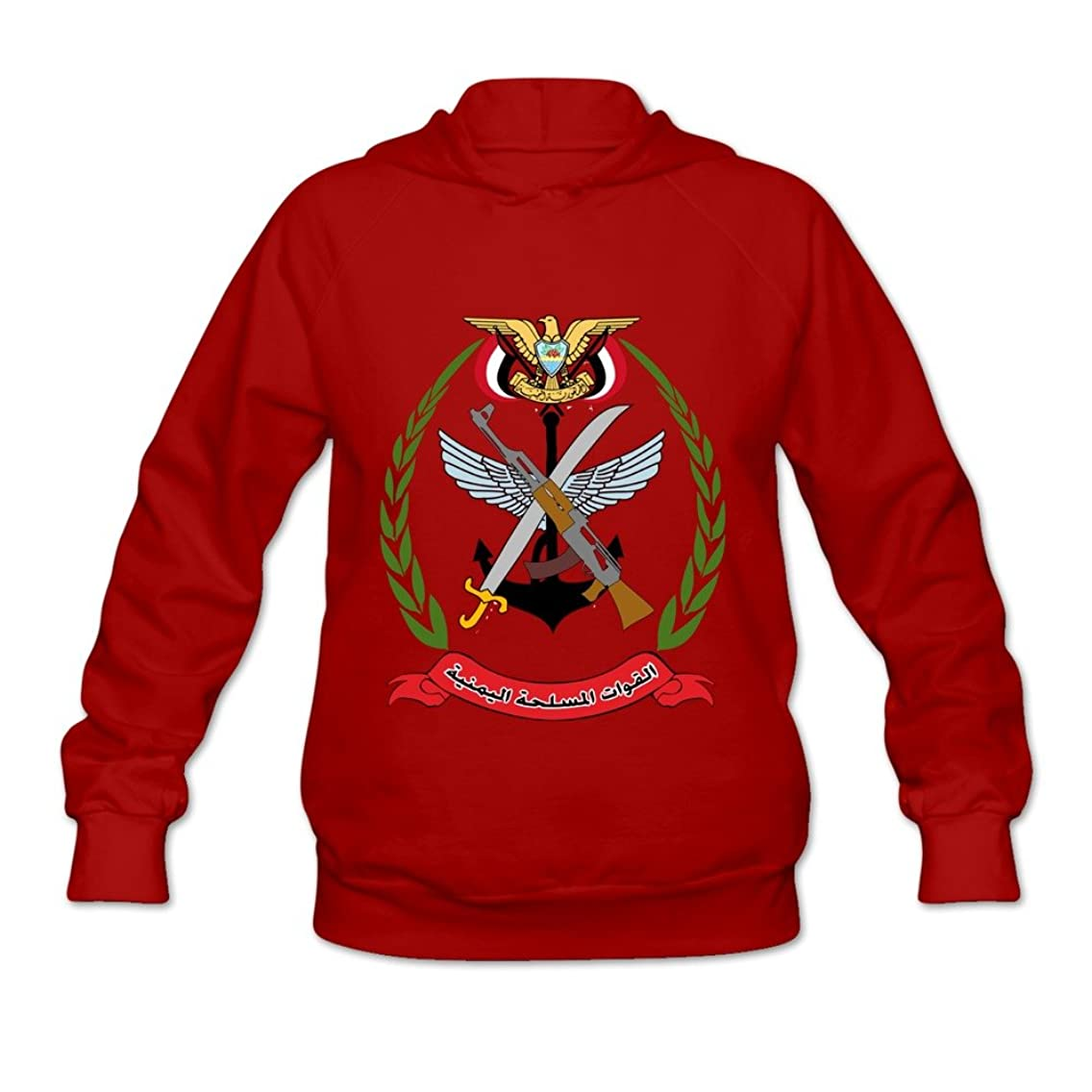 Yemeni Armed Forces Emblem Religion 100% Cotton Long Sleeve Hoodie For Womens