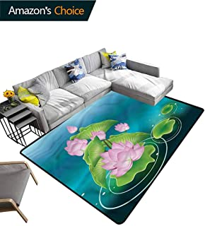 TableCoversHome Japanese Striped Area Rug Mat, Meditation Zen Theme Lotus Pattern Printing Door Mat, Durable Carpet Area Rug - Living Dinning Room Bedroom Rugs and Carpets (3'x 8')