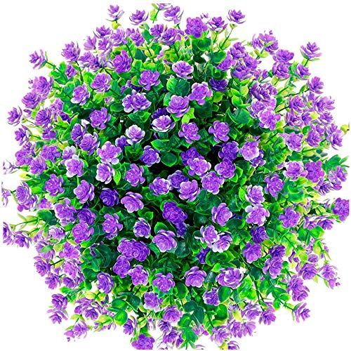 Unkown 6 pcs Artificial Flowers,Artificial Plants Greenery Eucalyptus Fake Flowers UV Resistant Fake Plants Outdoor Bridal Wedding Bouquet for Home Garden Party Wedding Decoration (,purple)