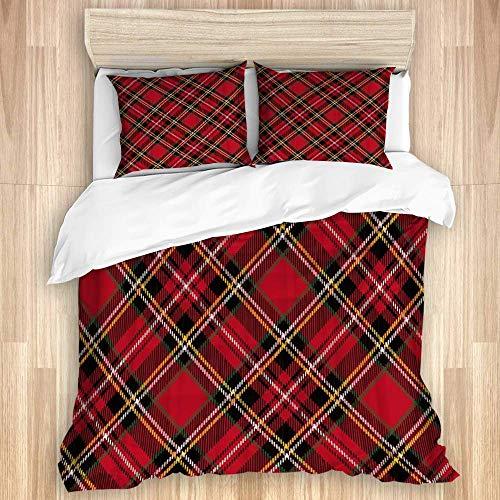 Funda nórdica, patrón de tartán escocés Tradicional de la Vendimia, Ropa de Cama de Microfibra de Calidad, Ultra Suave, cómodo diseño Moderno