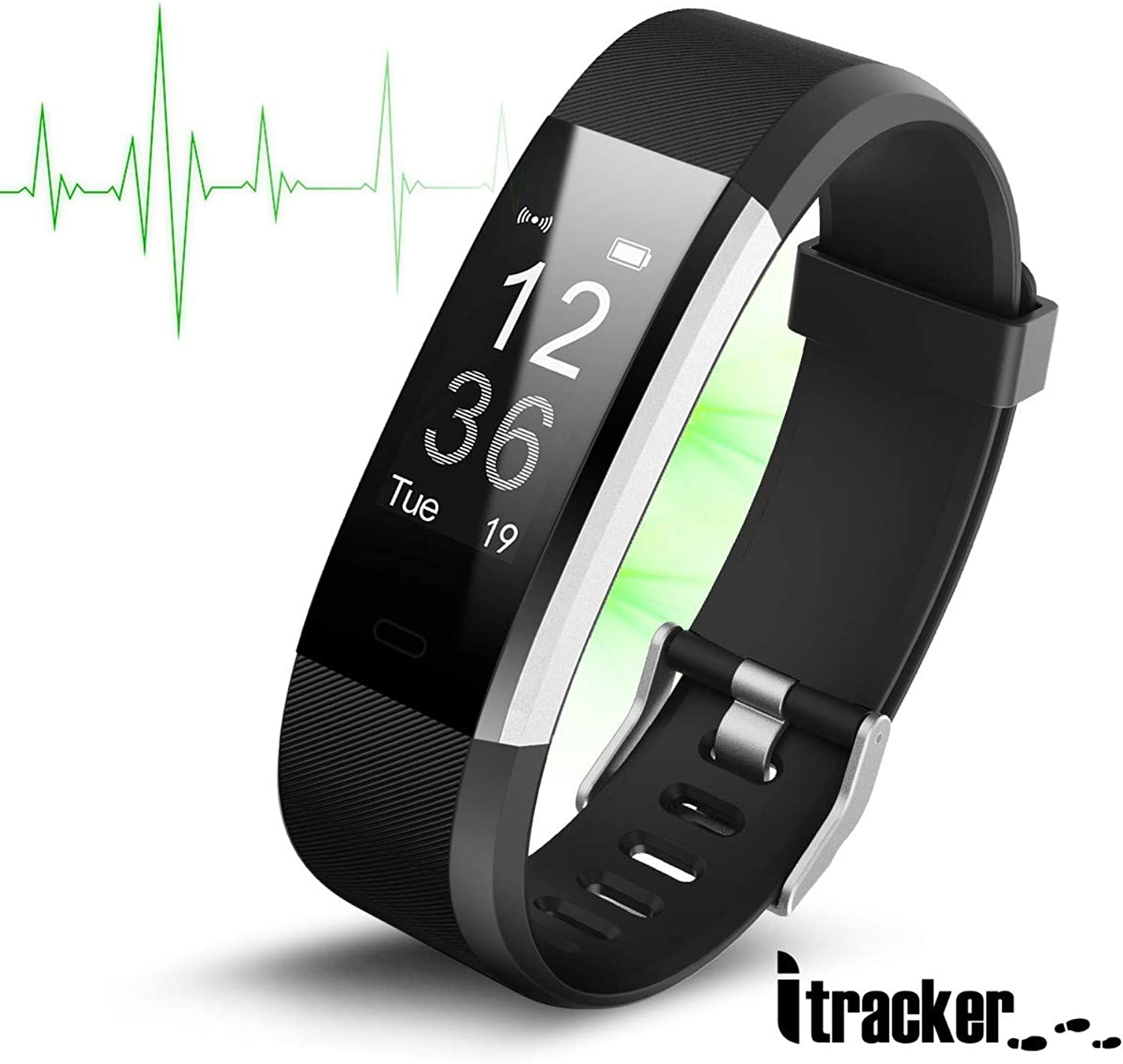 ITRACKER Fitness Tracker HR Activity Tracker Watch with Heart Rate Monitor Waterproof Smart Bracelet with Step Counter Calorie Counter Pedometer Watch for Kids Women and Men (Black)